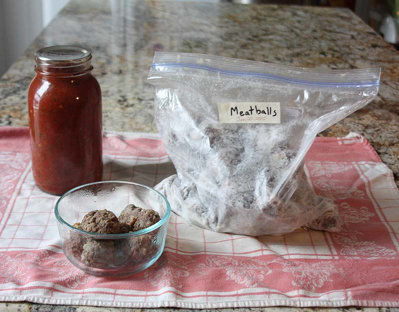 Meatballs Frozen with Jar of Sauce