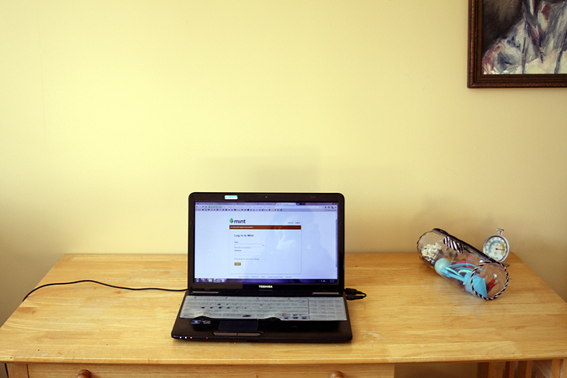 Working out of our guest bedroom today because there is a desk in here.